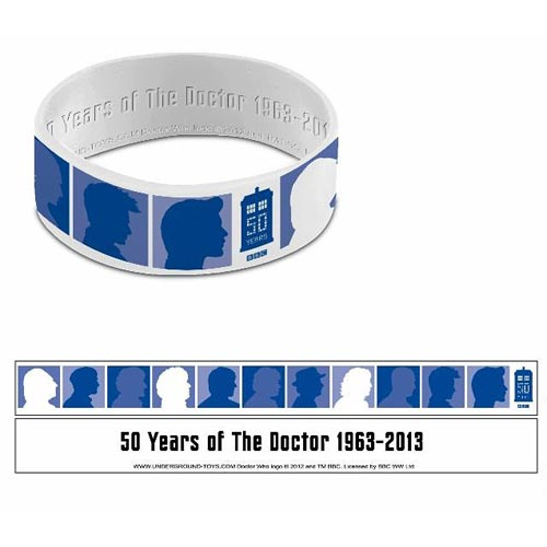 Doctor Who 50th Anniversary Silhouette White Wristband