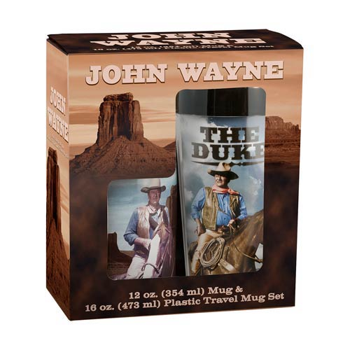 John Wayne Ceramic Mug and Plastic Travel Mug Set