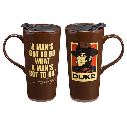 John Wayne A Man's Got To Do 20 oz. Ceramic Travel Mug