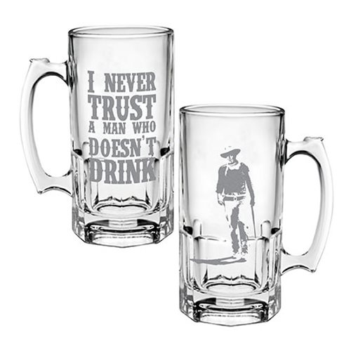 John Wayne I Never Trust A Man Who Doesn't Drink Glass Stein