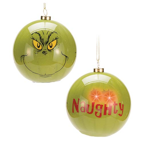 Dr. Seuss Grinch Big Face Light-Up Ball Ornament