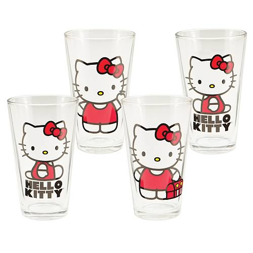 Hello Kitty Glasses 16-Ounce 4-Pack
