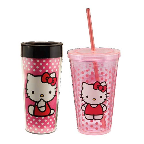 Hello Kitty Plastic Travel Mug and Acrylic Travel Cup Set