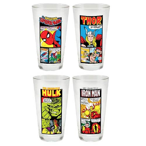 Marvel Comics 16 oz. Glass 4-Pack