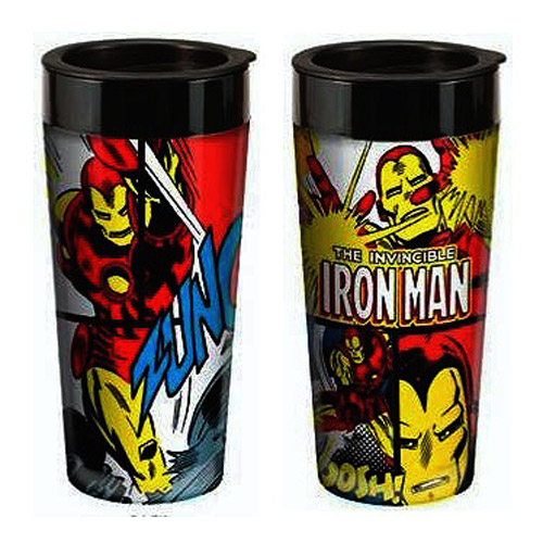 Iron Man Marvel 16 oz. Plastic Travel Mug