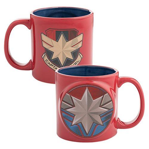 Captain Marvel Badge 20 oz. Bas Relief Ceramic Mug