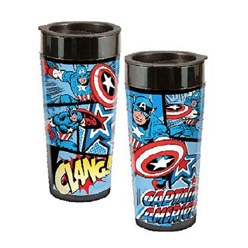 Captain America Marvel 16 oz. Plastic Travel Mug