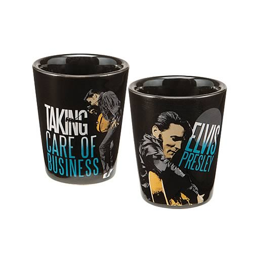 Elvis Presley Taking Care of Business Ceramic Shot Glass
