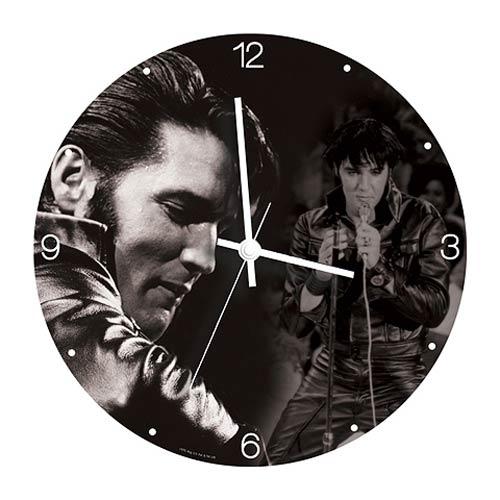 Elvis Presley 13 1/2-Inch Cordless Wood Wall Clock