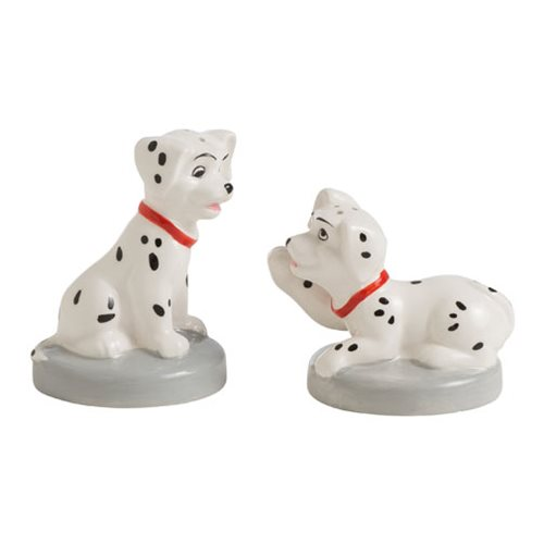 Salt and pepper shakers don't get any cuter than this! Two of those adorable puppies from Disney's 1961 animated film 101 Dalmatians make up this 101 Dalmatians Puppies Sculpted Salt and Pepper Shaker Set. Won't it look wonderful on your table? Hand wash only. Not dishwasher safe.