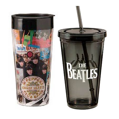 The Beatles Plastic Travel Mug and Acrylic Travel Cup Set