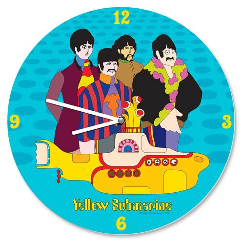 The Beatles Yellow Submarine Cordless Wood Wall Clock