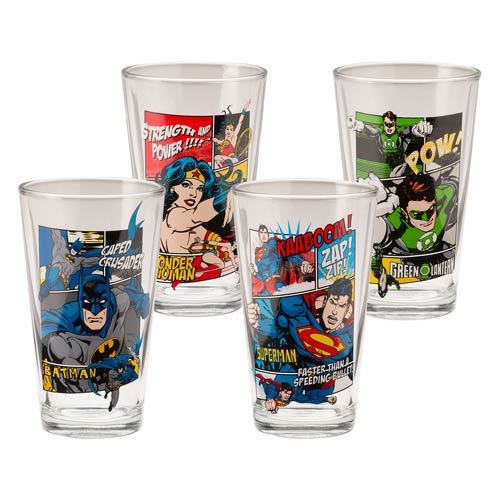 DC Comics 16 oz. Glasses Set 4-Pack