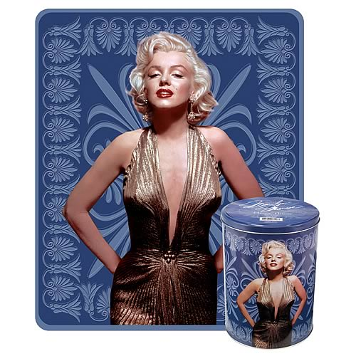 Marilyn Monroe Blue Fleece Throw with Tin Canister