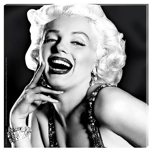 Marilyn Monroe Laughing Portrait Small Stretched Canvas