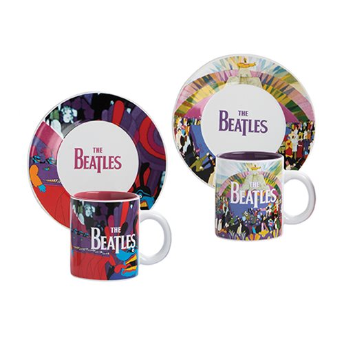 The Beatles Yellow Submarine Ceramic Teacup and Saucer 2-Pack