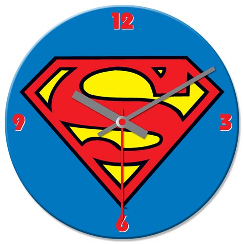 Superman 13 1/2-Inch Cordless Wood Wall Clock