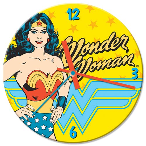 Wonder Woman 13 1/2-Inch Cordless Wood Wall Clock