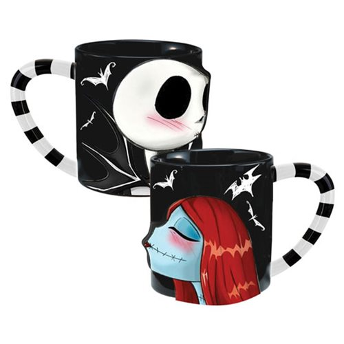 The Nightmare Before Christmas Jack and Sally 20 oz. Sculpted Ceramic Mug 2-Pack Set