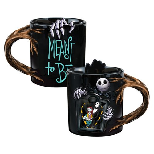 The Nightmare Before Christmas Jack and Sally 20 oz. Sculpted Heat Reactive Ceramic Mug