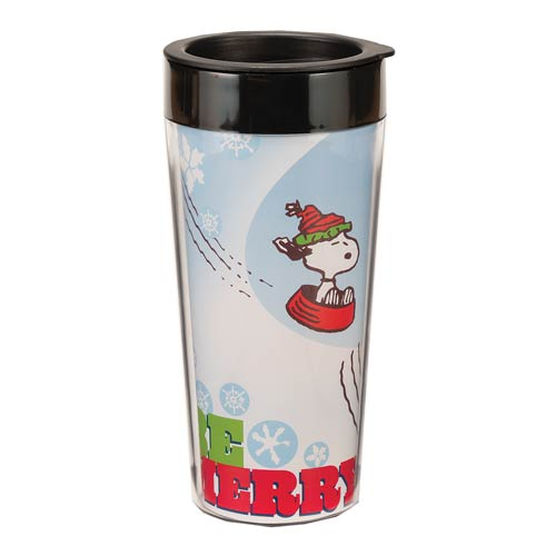 Peanuts Be Merry 16 oz. Plastic Travel Mug