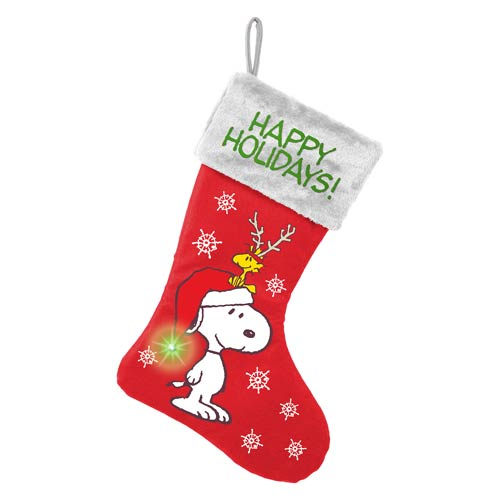 Peanuts Snoopy Happy Holidays Large Light-Up Stocking
