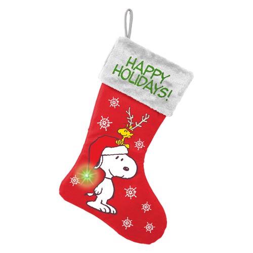 Peanuts Snoopy Happy Holidays Large Light-Up Stocking
