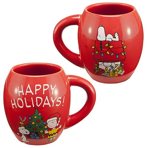 Peanuts Happy Holidays Red Oval Mug
