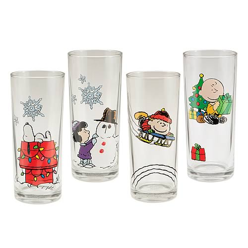 Peanuts Holiday Glasses 4-Pack