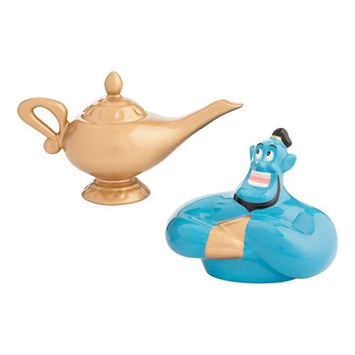 Aladdin Genie and Lamp Sculpted Ceramic Salt & Pepper Set