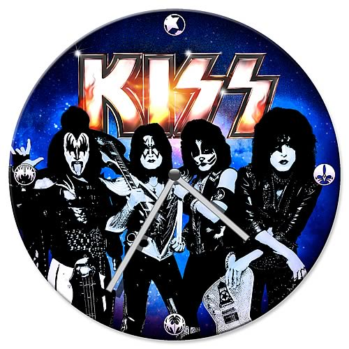 KISS Rocking Out Wood Wall Clock