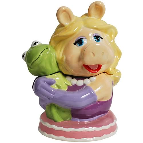 Muppets Miss Piggy Hugging Kermit Cookie Jar