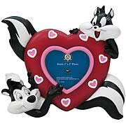 Looney Tunes Pepe Le Pew and Penelope Heart Picture Frame