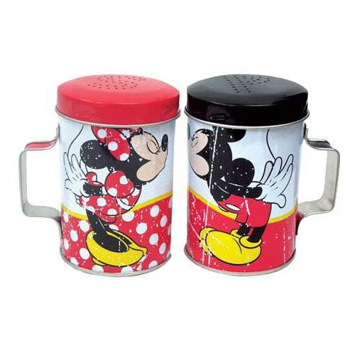 Mickey and Minnie Mouse Kiss Tin Salt and Pepper Shakers