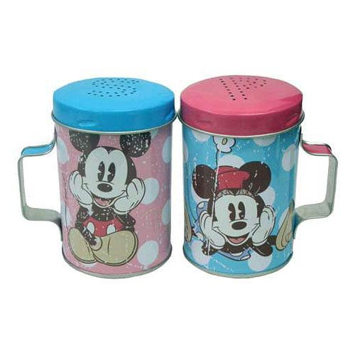Mickey and Minnie Mouse Polka Dots Tin Salt & Pepper Shakers