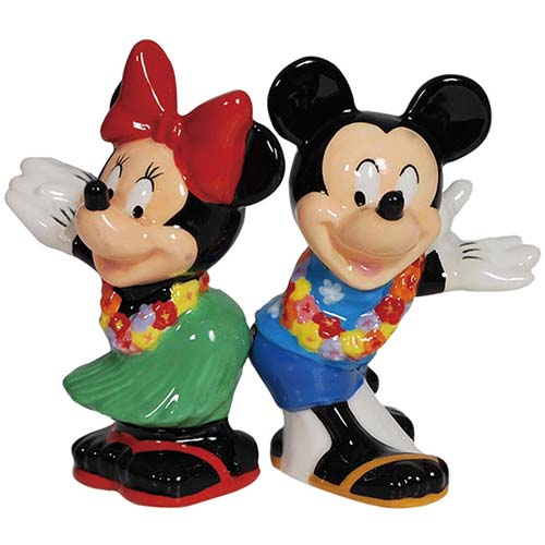 Mickey and Minnie Mouse Hula Time Salt and Pepper Shaker Set