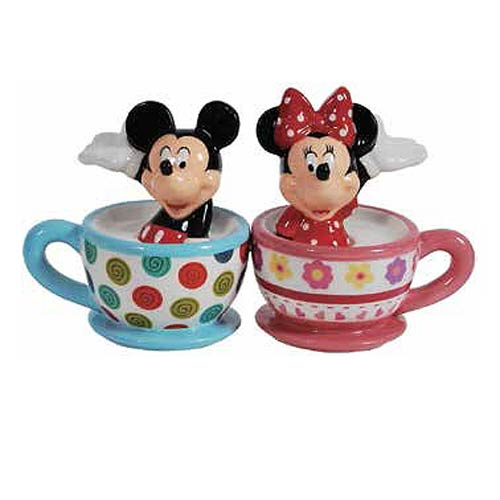 Mickey and Minnie Mouse Teacups Salt and Pepper Shaker Set