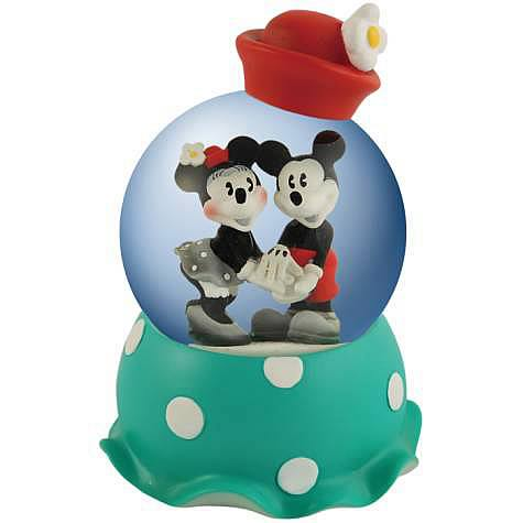 Disney Retro Mickey & Minnie Mouse Holding Hands Water Globe