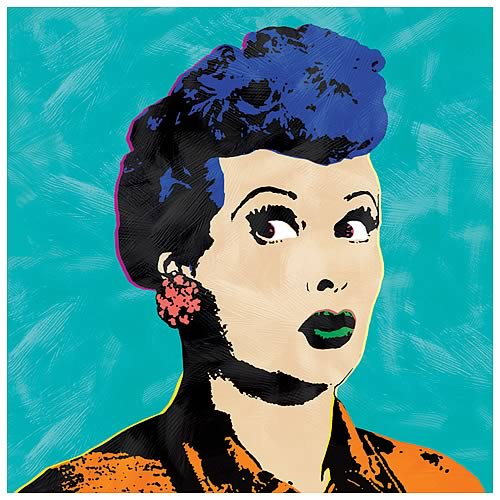 I Love Lucy Pop Art Turquoise Canvas Print