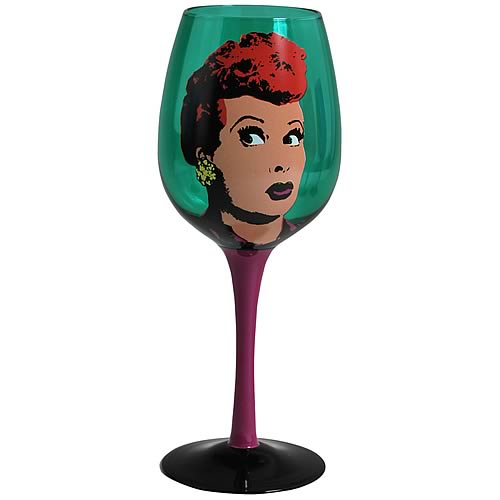 I Love Lucy Pop Art Green Wine Glass