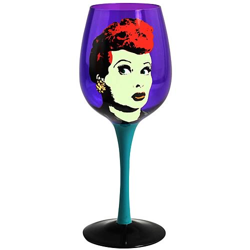 I Love Lucy Pop Art Purple Wine Glass