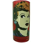 I Love Lucy Pop Art Red Drinking Glass