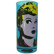 I Love Lucy Pop Art Blue Drinking Glass