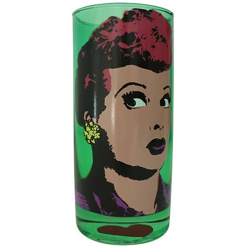 I Love Lucy Pop Art Green Drinking Glass