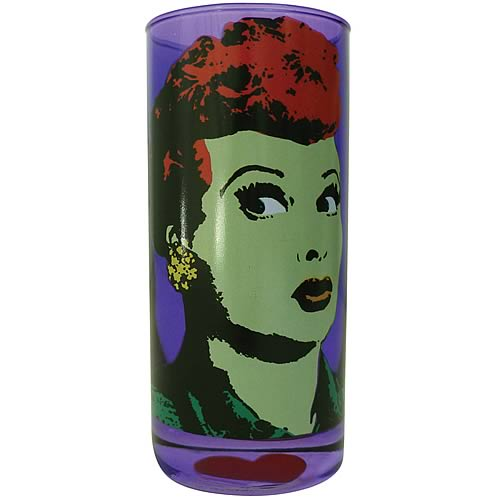 I Love Lucy Pop Art Purple Drinking Glass