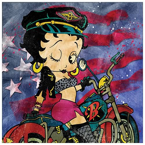 Betty Boop Motorcycle Betty Canvas Art