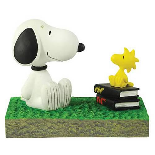 Peanuts Snoopy and Woodstock Bus Stop Mini Statue