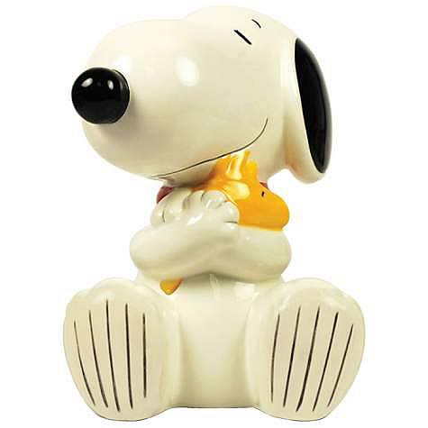 Peanuts Snoopy Hugging Woodstock Ceramic Bank