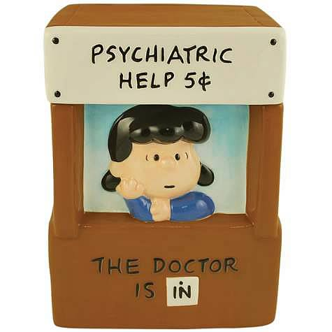 Peanuts Lucy's Psychiatrist Booth Cookie Jar