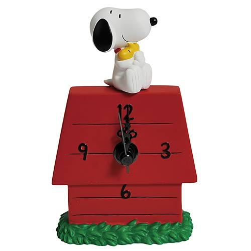 Peanuts Snoopy Hugging Woodstock Desk Clock